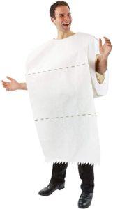 Man wearing toilet paper costume
