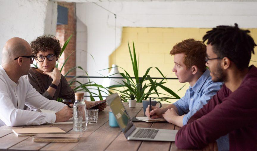 employees sitting around learning