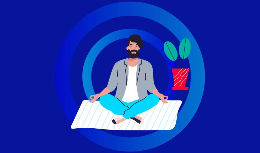 man meditating, working on workplace mental health