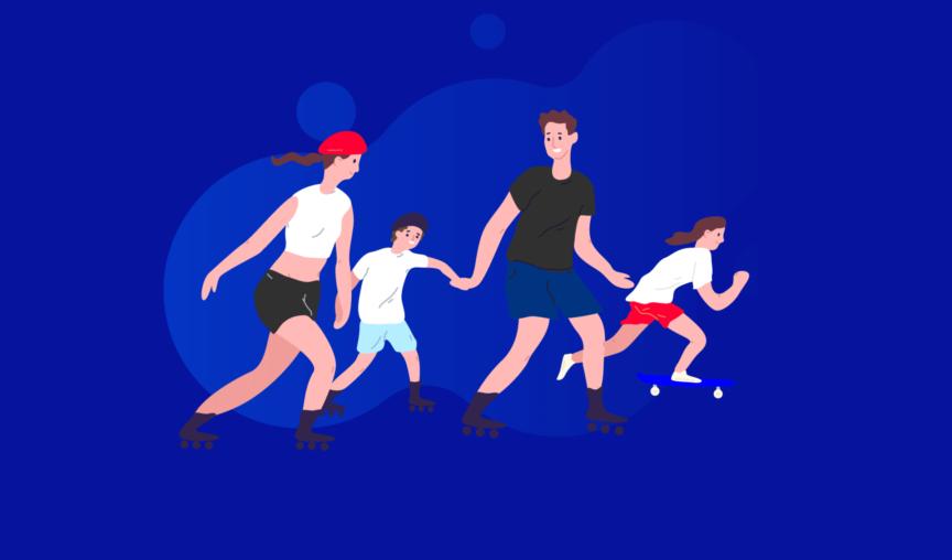 Illustration of family rollerblading