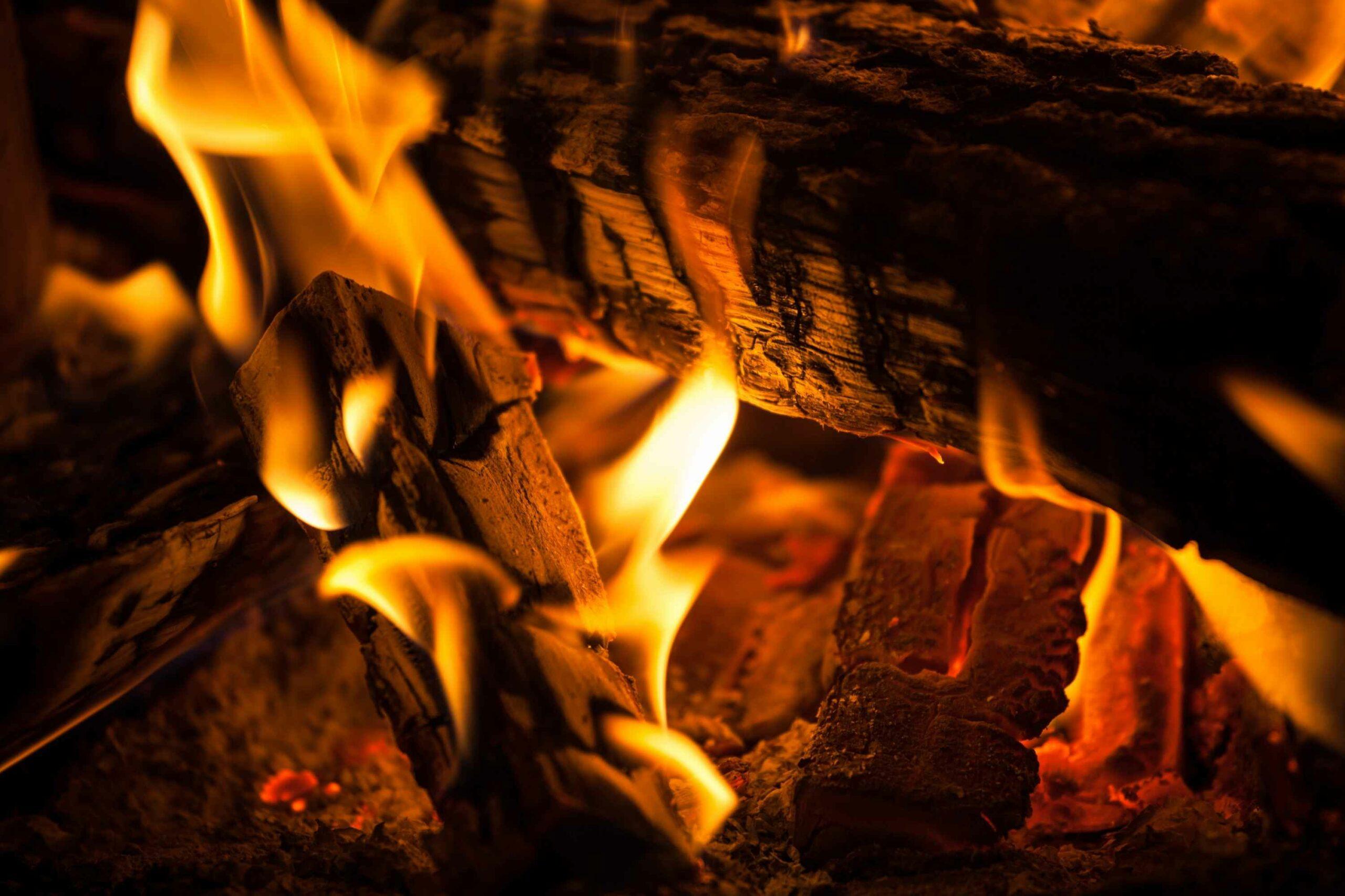 Logs Burning In Fire