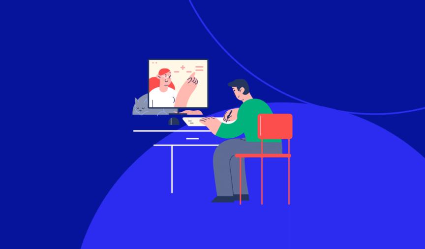 Illustration of man sitting at his desk