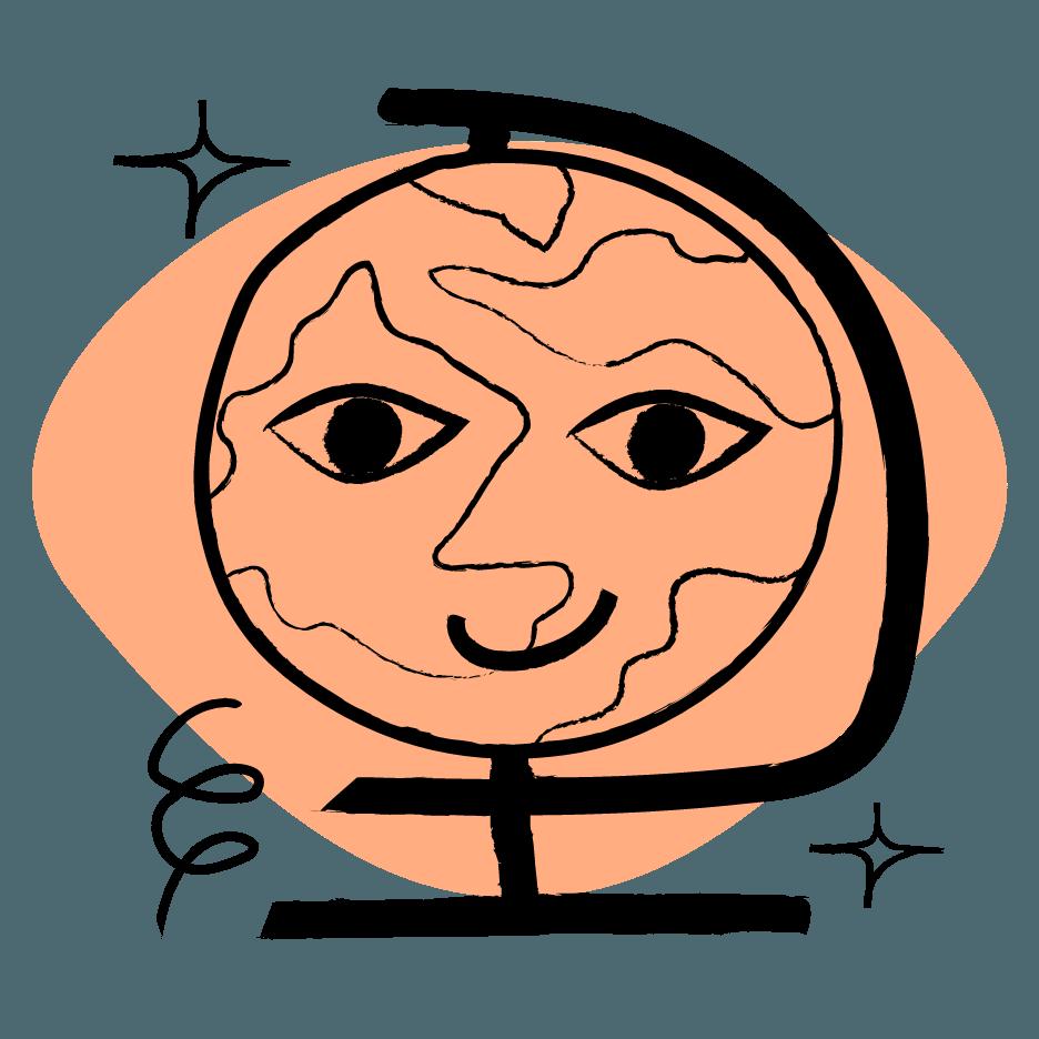 illustration of an orange globe