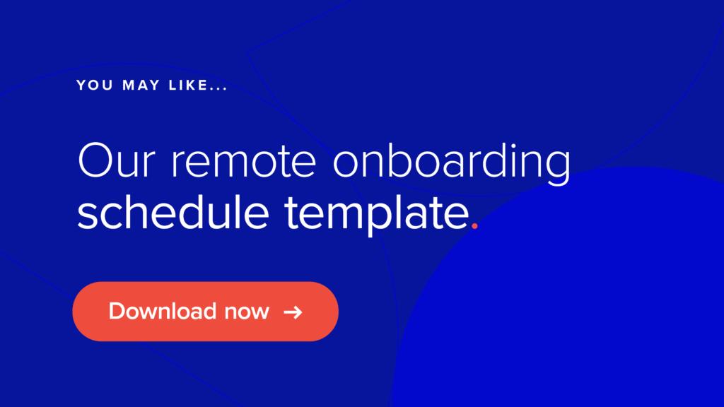 remote onboarding schedule