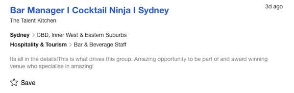 Job ad for a Bar Manager | Cocktail Ninja