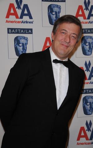 Stephen Fry wearing a tuxedo
