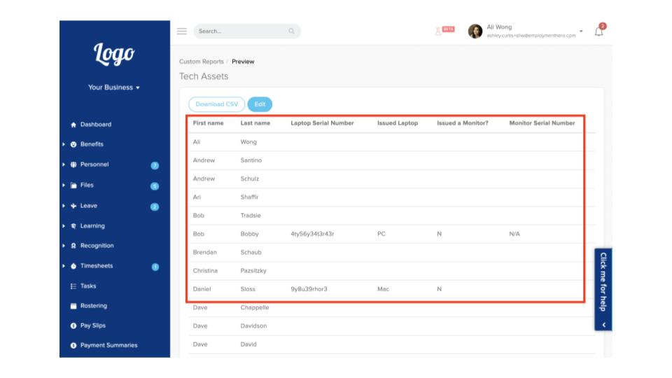 Screenshot of custom field report
