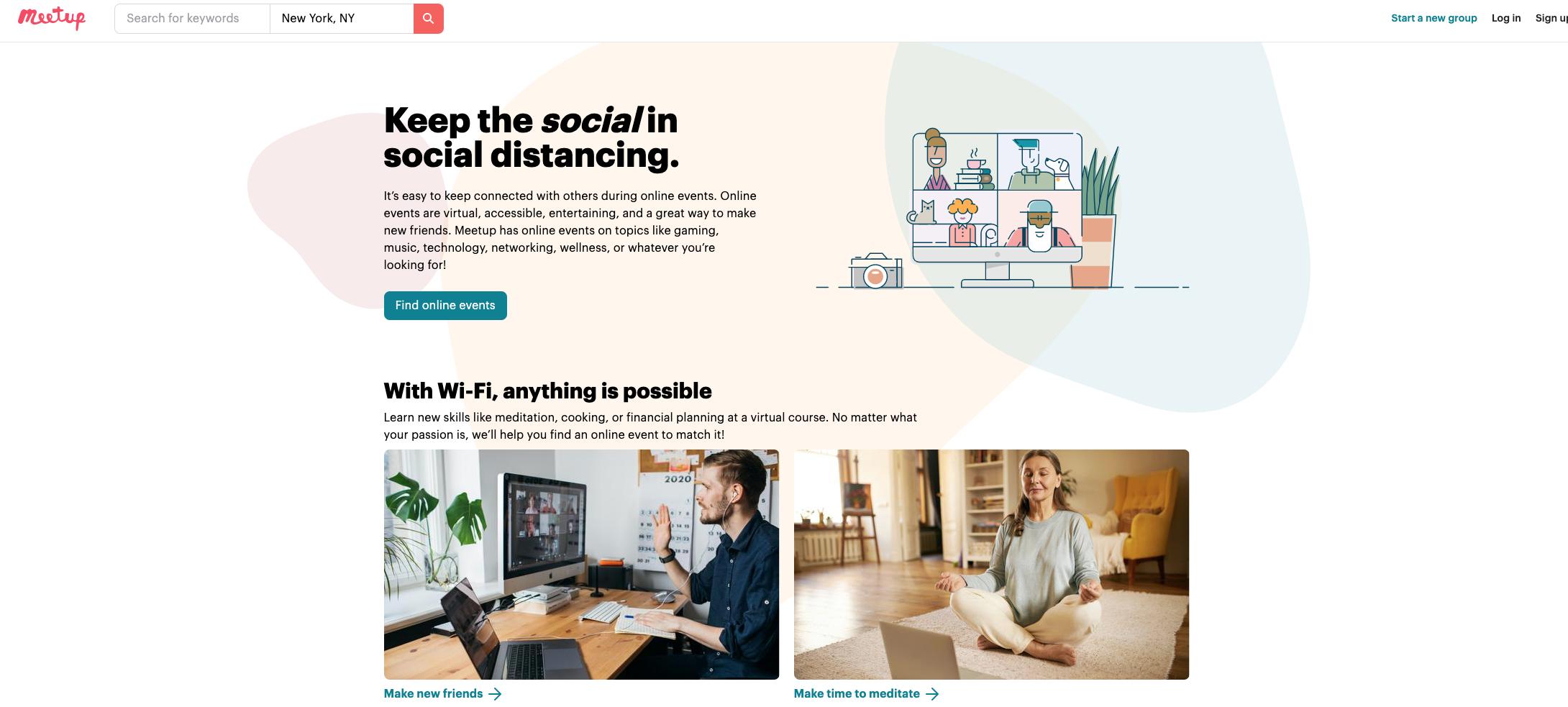 Virtual Meetups Screenshot