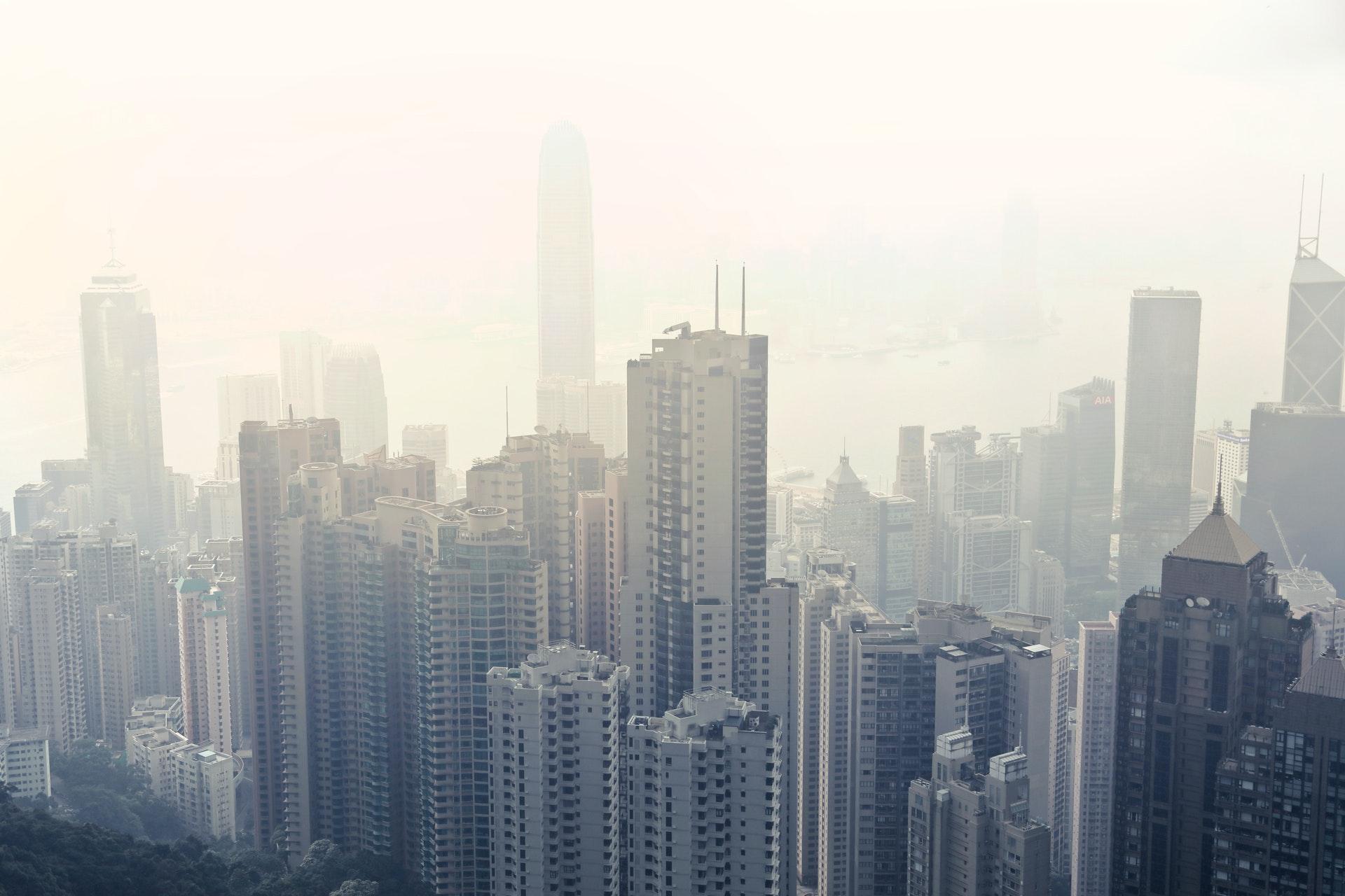 City skyline covered in fog