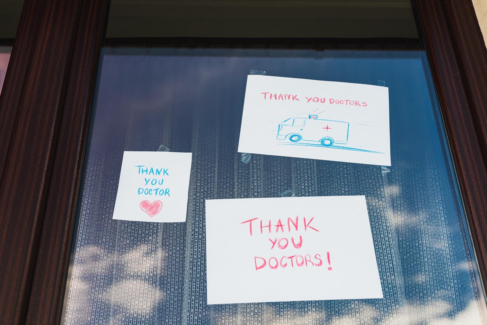 thanking doctors and nurses window thanks