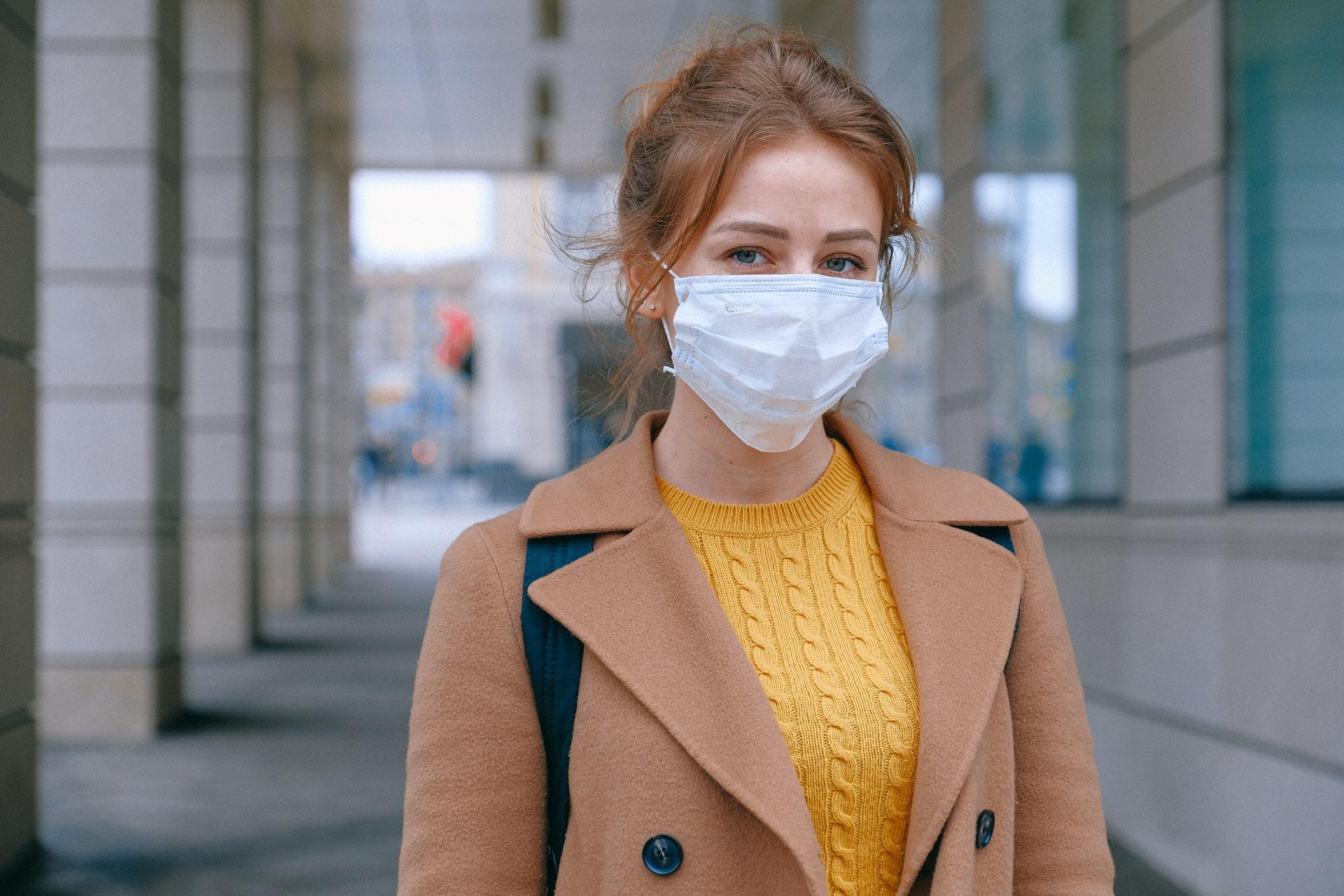 Woman outside wearing a face mask
